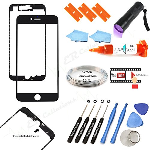 """Price comparison product image iPhone 7 Plus 5.5"""" Black Front Outer Lens Glass Screen Replacement Repair Kit Glass+LOCA Glue+ Magnetized Tools + UV Light + Wire (Screen Separator) … (Black)"""