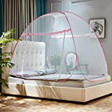 KE & LE Mongolian Yurt Dome Mosquito Net, Outdoor Net Free Installation Folding Mosquito Net Prevent Insect Pop Up Mosquito Tent for Beds Bedroom -a W:120cmxh:130cmxd:200cm