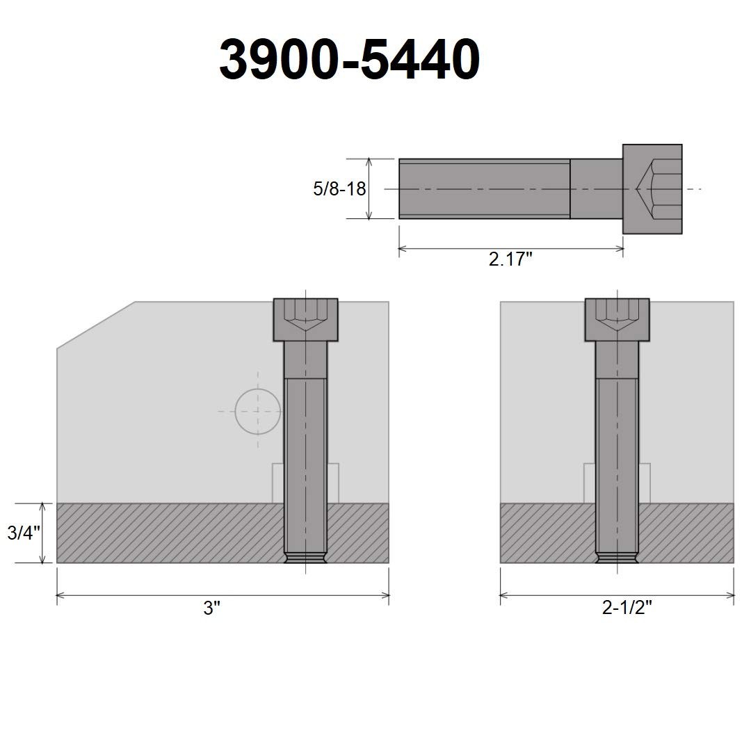 HHIP 3900-5438 KDK-100 /& KDK-0 Style T-Nut Blank 3//4 x 2-1//2 x 3 with Screw 7//16-20 x 62 mm