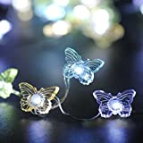 Butterfly String Lights - Ornament Lighting by IMPRESS LIFE 10 ft Copper Wire 40 LEDs with Remote for Wedding, Baby Shower, Covered Outdoor, Indoor Holiday Parties, Garden, Patio Decorative