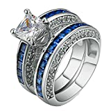 LILILEO Jewelry Luxury 2 Sets Of High-Grade Blue Zircon Plating Gold Ring For Women's Rings
