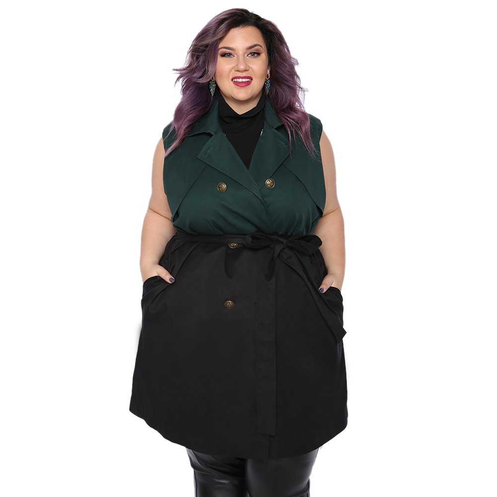 Astra Signature Women's Plus Size Lapel Double Breasted Green and Black Trench Coat Sleeveless Long Jacket With Belt (24W)