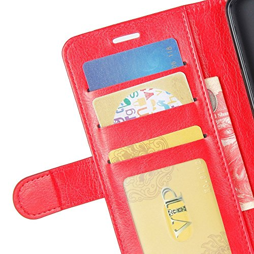 Meizu Slots Card M6S Meizu Wallet PU Cover with Premium Red Case Handmade Brown Leather ID Phone M6S for Credit Meilan Flip S6 Protective HualuBro Case CHpFcwpq