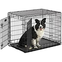 "Ulitma Pro (Professional Series & Most Durable MidWest Dog Crate) Extra-Strong Double Door Folding Metal Dog Crate w/ Divider Panel, Floor Protecting ""Roller Feet"" & Leak-Proof Plastic Pan"