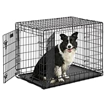 "MidWest Ultima Pro (Professional Series & Most Durable Dog Crate) | Extra-Strong Double Door Folding Metal Dog Crate w/Divider Panel, Floor Protecting ""Roller Feet"" & Leak-Proof Plastic Pan"
