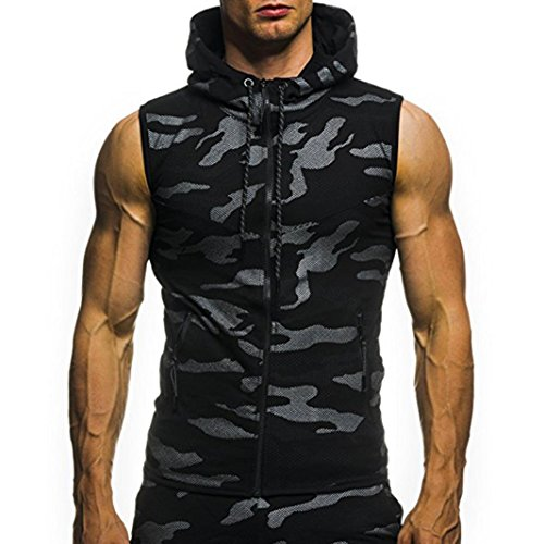 Misaky Men's Summer Camouflage Hoodie Hooded Sleeveless T-shirt Top Hunting Shirt Active Shirts