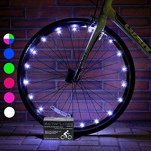 Activ Life 2 Pack White Bike Lights - Hot Gifts for Boys, Girls & Fun Ideas for Him and Her Presents - Popular Bicycle Wheel Accessories & Decorations for Bright Safety Style - LED Bulbs Day & Night