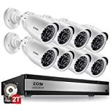 ZOSI 720p 16 Channel Security Camera System,16 Channel Hybrid HD-TVI 1080N DVR with (8) 1.0MP 720p(1280TVL) Night Vision Outdoor/Indoor Weatherproof Home Surveillance Cameras(2TB Hard Drive Built-in)