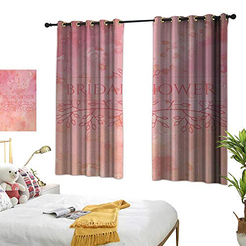 Exquisite Curtain Bridal Shower Bride Invitation Grunge Abstract Backdrop Floral Design Print W72 xL63 Light Pink and Salmon Suitable for Bedroom Living Room -