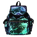 BCDshop Fashion Sequins School Shoulder Bag Drawstring Backpack Daypack For Women Girls (Green)