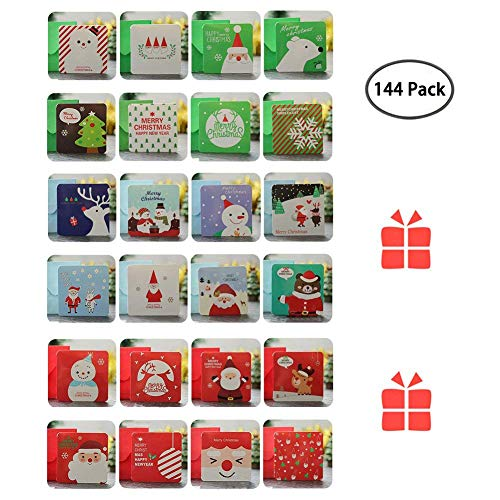(BlueSpace 144 Christmas Cards Greeting Gift Holiday Card Set Unique Designs Mini Cute Cards with Envelopes )