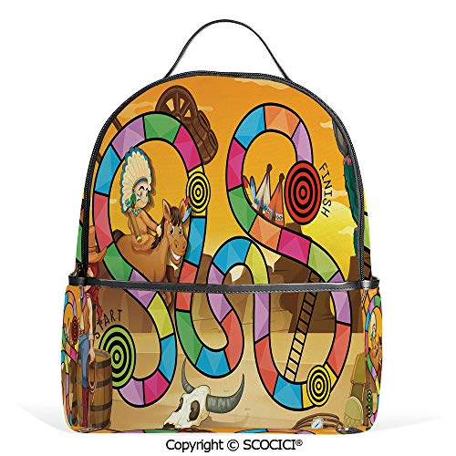 Casual Fashion Backpack Wild West Concept Country Landscape Cowgirl America Cactus Childrens Nursery Decorative,Multicolor,Mini Daypack for Women & Girls