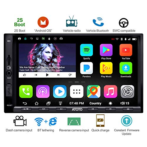 ATOTO A6 Android Car Navigation Stereo w/Dual Bluetooth & Quick Charge - Premium A6Y2721PB 2G/32G Universal Auto Entertainment Multimedia Radio,WiFi/BT Tethering Internet,Support 256G SD & More ()