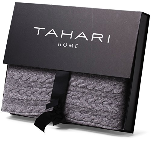 Tahari Home 40% Cashmere Cable Knit Throw Luxury Knitted Blanket In Impressive Tahari Throw Blanket