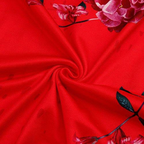Corta Camicia Elegante Maglietta Tank Rosso Senza Manica Camicetta Shirt Damark Floreale Tops Sweatshirt Spalline Pullover Felpa T Pullover Manica Top Moda Cime Casuale Stampa Donna Tee 5XnxBXwz0