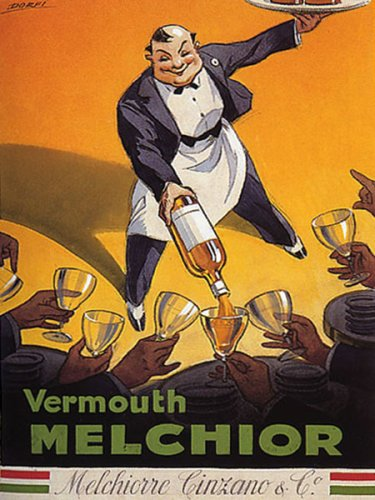VERMOUTH MELCHIOR CINZANO WAITER ITALY VINTAGE POSTER - Italy Vermouth