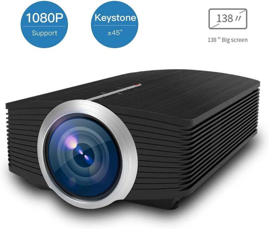 ホームシアタープロジェクター、ビデオプロジェクター、138インチの大画面、1080P HD、ドルビーサウンド、±50°台形補正、HDMI、VGA、AV、USBをサポート