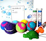 kids bath bombs with a surprise toy inside & fizz fun set colored xl bath bombs, kid safe, gender