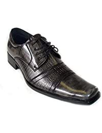 NEW * DELLI ALDO * FASHION MENS LEATHER LACE UP OXFORDS DRESS SHOES FREE HORN 19053 GREY