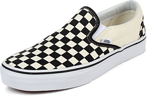 Vans Unisex Classic Checkerboard Black/White Checker/White Slip-On - 10.5 (Checkered Pattern Black White)