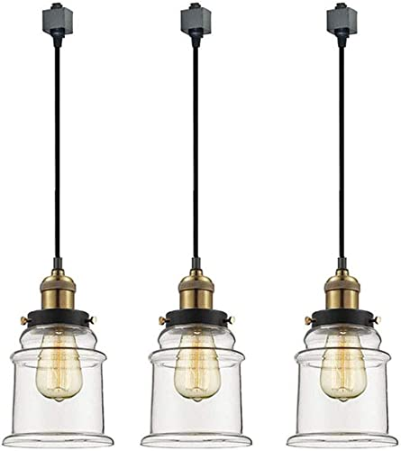 Kiven H-Type Track Pendant Light Industrial Hanging Lamp, Vintage Edison Glass Pendant Light, Modern Vintage Farmhouse Kitchen Lamp, 3-Pack