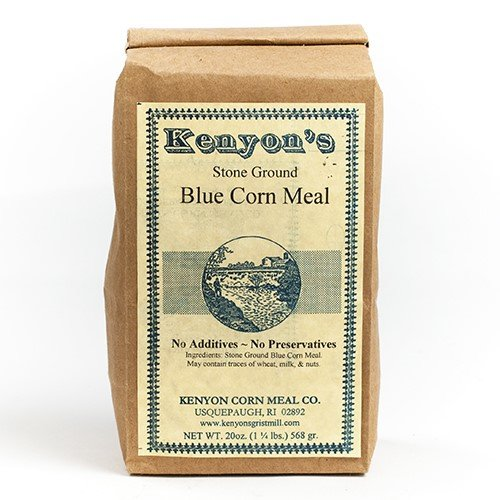 Stoneground Blue Corn Meal by Kenyon's Grist Mill (20 ounce) - Cornmeal Pancake Mix