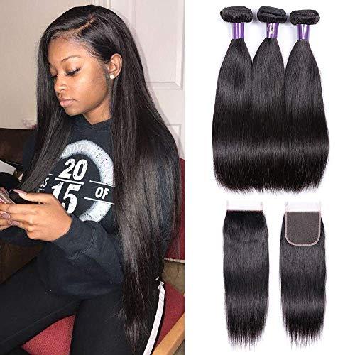 IUEENLY Brazilian Virgin Remy Straight Hair Weave Unprocessed Human Hair Extension Silky Straight 3 Bundles 300g Natural Black 1B (16 16 16 + 14closure)