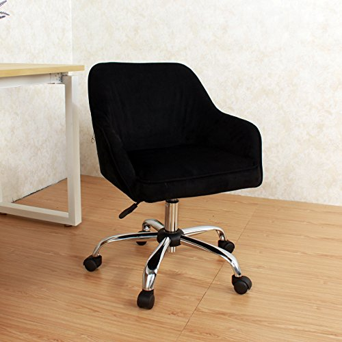 Modern Office Chair Task Desk Adjustable Swivel Height W/Wheels Velvet Black + FREE E-Book (Back Seat Car Hi Booster)
