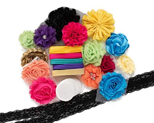 Dia De Muertos : DIY Headband Making Station Kit | Makes 12 Unique Hair Accessories | Baby Shower Toddler Tween| Shabby Chiffon Craft Roses Elastics : Sage Nautical Charcoal Ocean Blue Elegant Floral ()