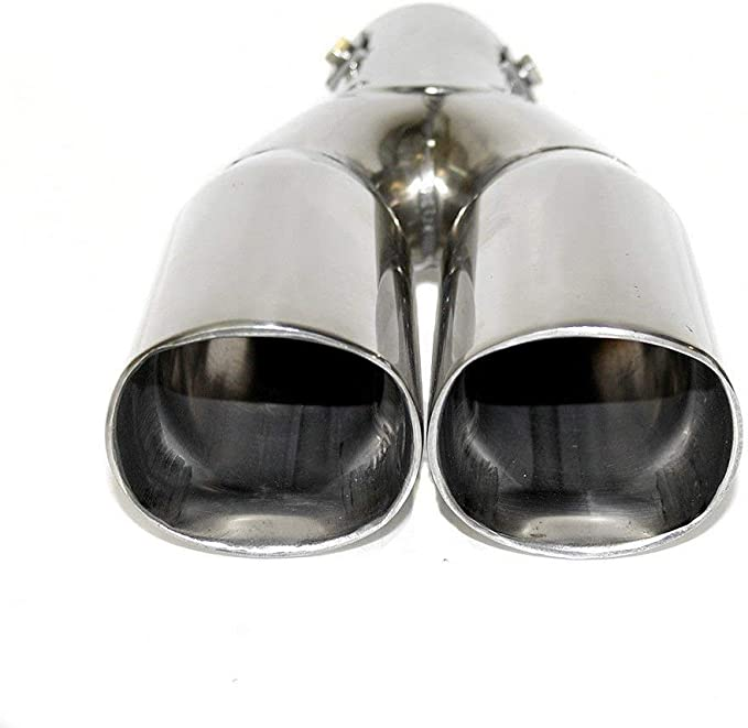 Boloromo YFX-0220 Twin Exhaust Universal Double Performance Sport Muffler Tail Trim End Pipe Stainless Steel Car Chrome