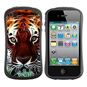 "Hypernova Slim Fit Dual Barniz Protector Caso Case Funda Para Apple iPhone 4 / iPhone 4S [Gato Naturaleza África animal anaranjada""]"