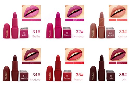 Miss Rose Long-lasting Matte Lipstick Set, 12 PCS Multi Colored featuring full-pigment lip color with a smooth, ultra-matte finish in 12 shades