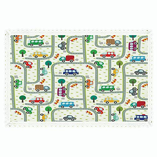 iPrint Cars,Rectangle Polyester Linen Tablecloth/Vibrant Cute Children Drawing Cars Driving on The Roads Traffic Urban Themed Design/for Dinner Kitchen Home Décor,60