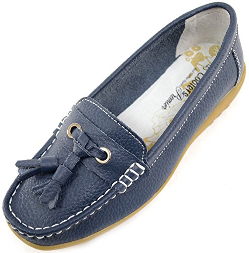 Ladies / Womens 100% Leather Casual / Formal Slip On Summer / Holiday Flats / Shoes Navy QVk3o696