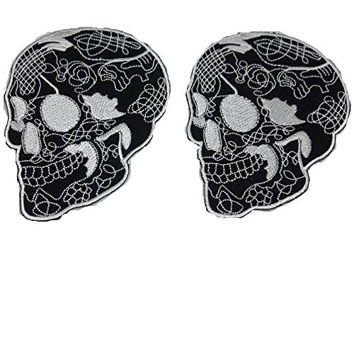 Dconfident Patch Skull 2 Pieces Perfect for Backpacks Hats Jeans Jackets Black&White