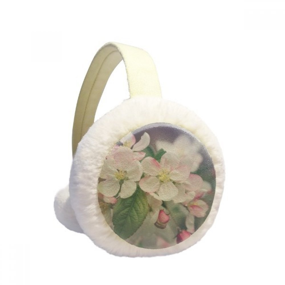 Pink Beautiful White Flowers Winter Earmuffs Ear Warmers Faux Fur Foldable Plush Outdoor Gift