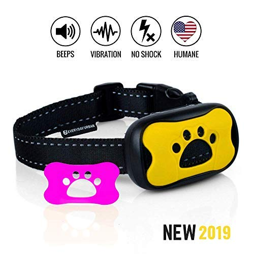 Everyday Urban Dog No Bark Collar - Anti Barking Vibration Control Device for Small Medium Large Dogs - Puppy Training Deterrent - No Shock 2018 Model - Fast Results!