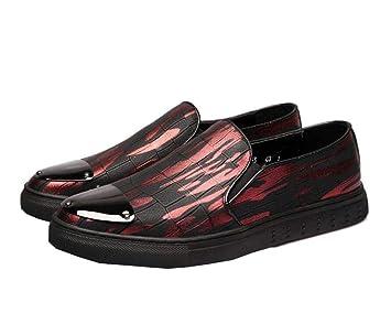 Los Hombres De La Bomba Impresa Mocasines Moda Casual Zapatos Perezosos Ronda Toe Banda Elástica Deslizamiento En Los Zapatos De La Placa UE Tamaño 38-44: ...