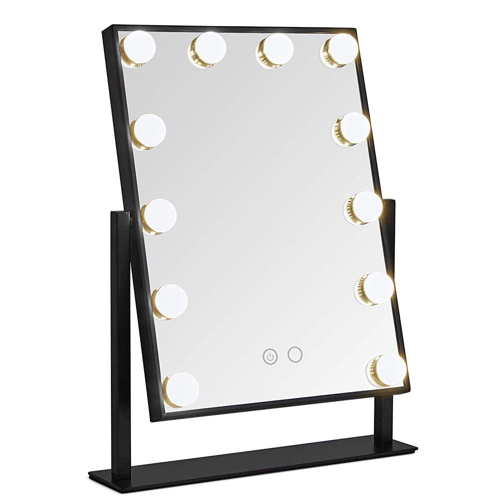Dr.Lefran Hollywood LED Makeup Mirror, Portable Vanity Makeup Mirror with 12 Dimmable Bulbs, Professional Illuminated Cosmetic Mirror, 3 Modes of Light