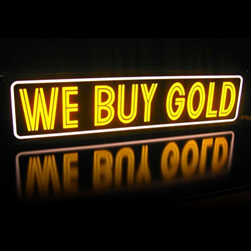 LED We Buy Gold & Silver Pawn Shop Light Box Sign   Lightbox Neon Alternative 1x4 Slim Line Window or Wall Signs for Business   Great ROI   Energy Efficient   1ft x 4ft Yellow Horizontal