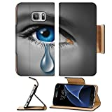 Liili Premium Samsung Galaxy S7 Flip Pu Leather Wallet Case IMAGE ID: 12353991 Child abuse with the eye of a young boy or girl with a single tear crying due to the fear o