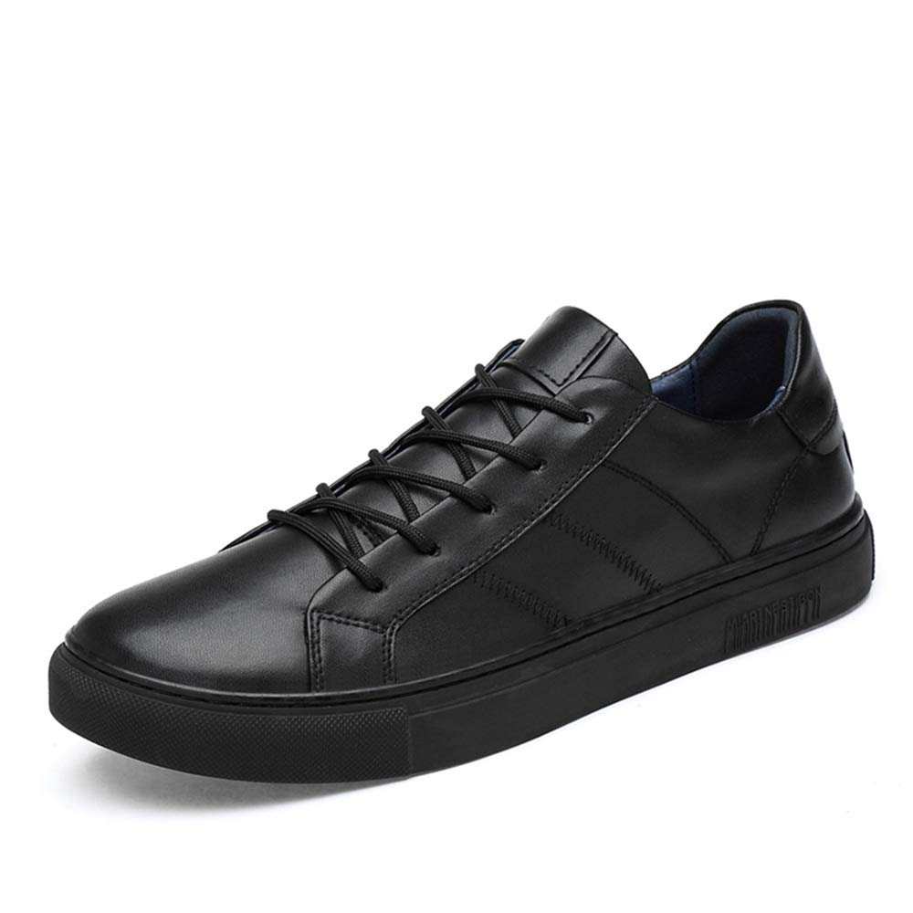 Hilotu Sneakers Sports for Men, Low Top Lace up Flats Genuine Leather Leisure Outdoor Traveling (Color : Black, Size : 8.5 D(M) US)