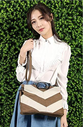 única Qiu niña para Mano de Mujer marrón Talla con Costuras Casuales Bolso de gris Lona Mujer CrCqFxT6w