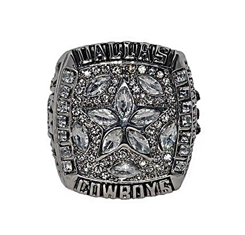 DALLAS COWBOYS (Troy Aikman) 1995 SUPER BOWL XXX CHAMPIONS (America's Team) Vintage Rare & Collectible Replica National Football League Silver NFL Championship Ring with Cherrywood Display Box