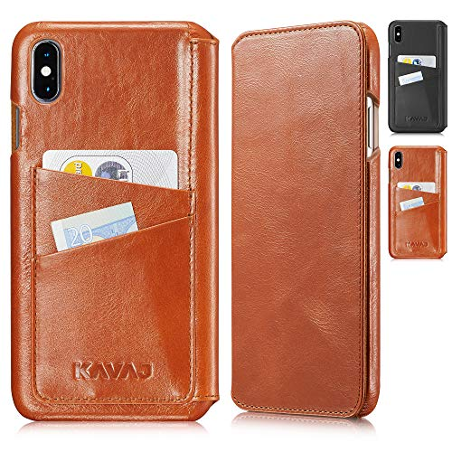 KAVAJ iPhone Xs Max 6.5 Case Leather Dallas Cognac-Brown, Supports Wireless Charging (Qi), Slim-Fit Genuine Leather iPhone Xs Max Wallet Case Leather Bumper Case with Business Card Holder Cover