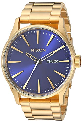 NIXON Sentry SS A369 - All Gold/Blue Sunray - 113M Water Resistant Men's Analog Classic Watch (42mm Watch Face, 23mm-20mm Stainless Steel Band)