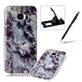 Shock Proof Case for Galaxy S7 Edge,Slim-Fit Soft Back Cover for Galaxy S7 Edge,Herzzer Fashion [Marble Stone Pattern] TPU Bumper Slim Gel Skin Rubber Flexible Shock Scratch Resist Case - Grey