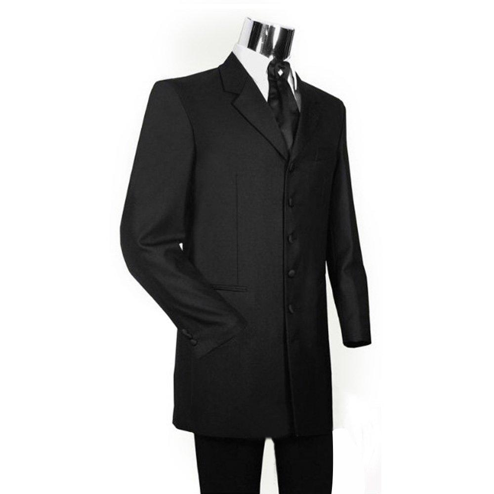 HBDesign Mens 3 Piece 7 Button Peak Lapel Slim Fit Long Pattern Suits Black 48R