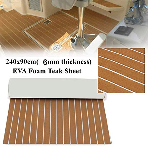 EVA Foam Faux Teak Sheet Boat Yacht Synthetic Teak Decking Marine Mat, Brown - 35.4 x 94.5 inches
