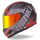 NENKI Helmets NK-856 Full Face Motorcycle Helmets DOT Approved With Iridium Red Visor and Inner Sun Shield Attached Outer Clear Visor (XL, Matt Black & Red)